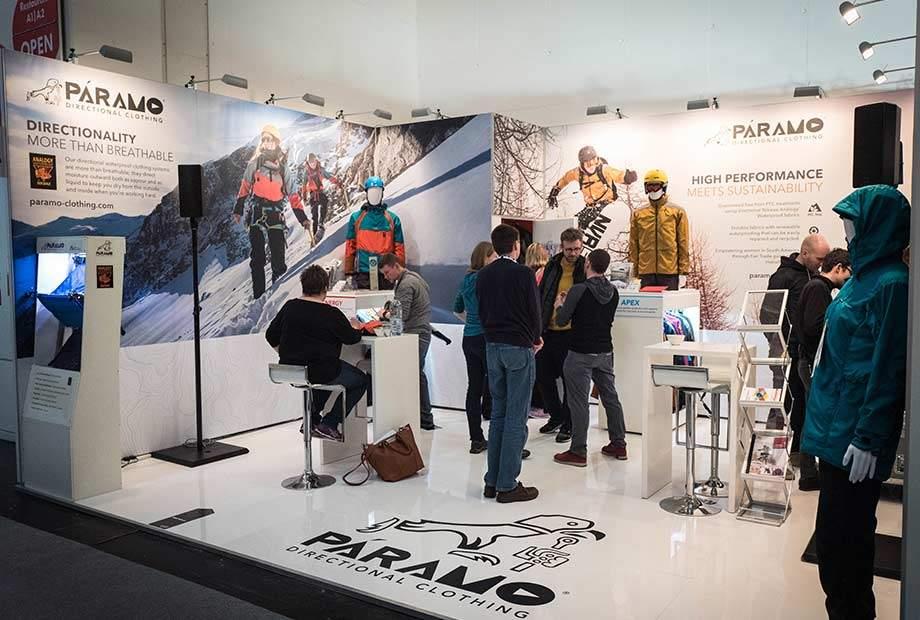 Messestand Paramo auf der ISPO 2018 in München.